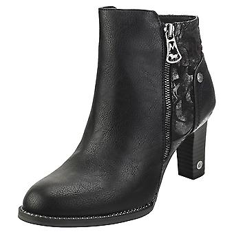 Mustang Cone Heel Womens Ankle Boots in Black