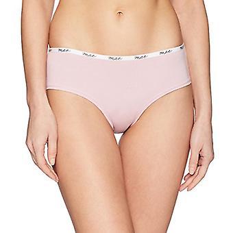Brand - Mae Women's Logo Elastic Cotton Hipster, 3 Pack,Black/High Rise Grey/Lilac,Medium
