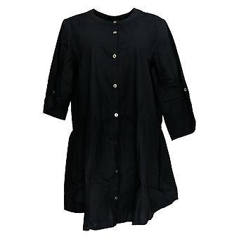LOGO door Lori Goldstein Women's Top Button Front W/ Waist Seam Black A354580