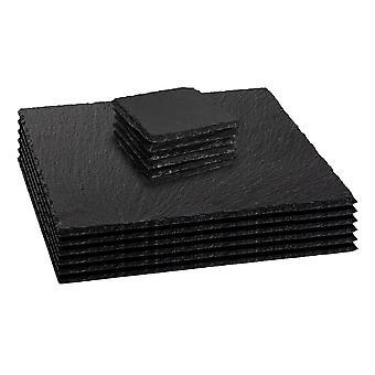12 Piece Slate Square Placemats and Coasters Set - Farmhouse Style Hand Cut Slate Edge
