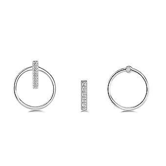 الندى الفضي ة مزدوجة ارتداء دائرة ومكعب زيركونيا بار مسمار الأقراط 3885CZ027
