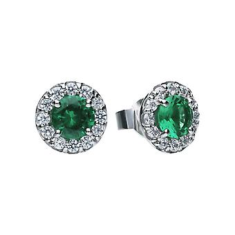 Diamonfire Cubic Zirconia Green Round Cluster Boucles d'oreilles E5655