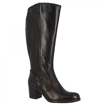 Leonardo Shoes Femmes's handmade talons carrés genou bottes hautes en cuir de veau noir wid fermeture zip