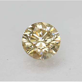 Cert 0.58 Carat Fancy Brownish Yellow VS2 Round Brilliant Natural Diamond 5.34mm