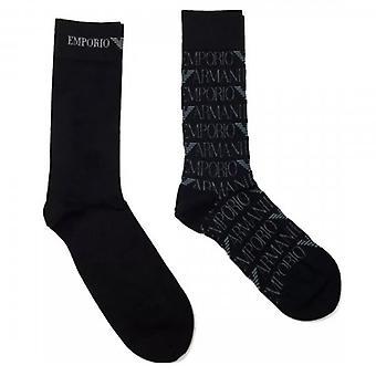 Emporio Armani 2 Pack Black Logo Socks 302302 0A284