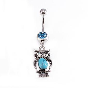 Belly button rings owl dangle design with turquoise and aqua cz jewels / navel