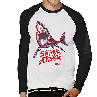 Jaws Neon Shark Attack Men's Baseball Long Sleeved T-Shirt