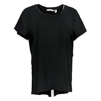 إسحاق مزراحي لايف! Women's Top Short-Sleeve W/ Hi-Low Hem Black A375680