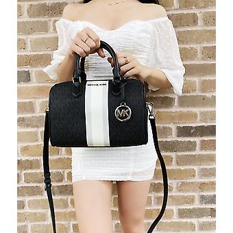 Michael kors bedford small duffle satchel crossbody bag black mk signature stripe