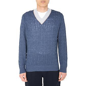 Brunello Cucinelli M2l79022ch363 Hombres's Suéter de lino azul