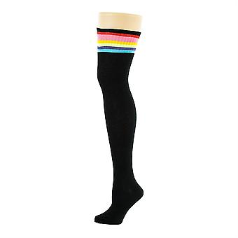Flirt Referee Thigh High Socks Black & Rainbow
