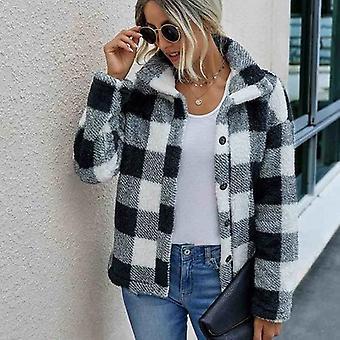 Chaqueta corta de piel sintética de las mujeres Plaid otoño invierno bolsillo abrigo