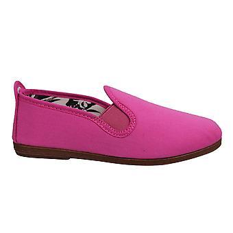 Flossy Style Pamplona Kids Espadrille Slip På Plimsolls Skor 55 Rosa