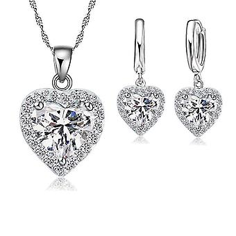 Silver Jewelry Set Bridal Wedding & Valentine Day