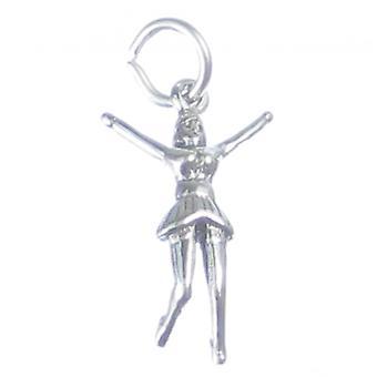 Cheerleader Sterling Silver Charm .925 X 1 Cheerleaders Dancer Charms - 3362