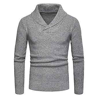Men's Solid V-neck Long Sleeve Classic Casual Knit Sweater