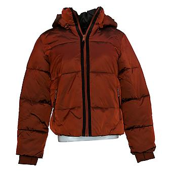 G by GIULIANA Women's Puffer Jacket with Removable Hood Dark Brick Red