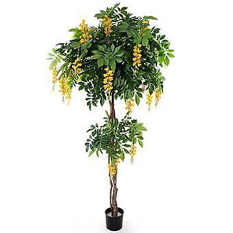 Wisteria artificial florescendo árvore artificial Deluxe 185 cm amarelo