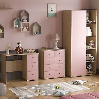 Neptune 3 Piece Bedroom Furniture Set Desk, Chest of Drawers, Wardrobe Two-tone, Pink & Oak