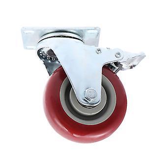 Red 100mm Heavy Duty Swivel Castor Wheel With Brake For Trolly Shopping Cart