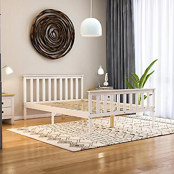 Milan Double Wooden Platform Bed High Foot End 4ft6, White