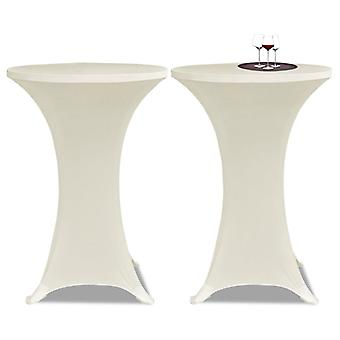 Standing Table Cover 70cm Cream Stretch 2 Pcs