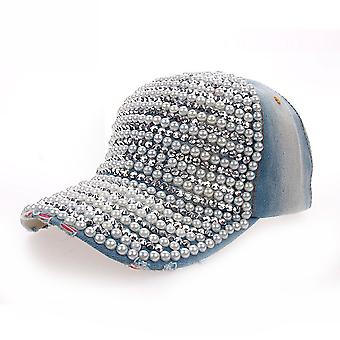 Pearl Full Brim Denim Baseball Cap Rhinestone Hip Hop Adjustable Snapback Hat Gorra For Women