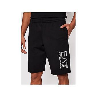 Emporio Armani EA7 Bomuld Grafisk Hex Logo Sorte shorts