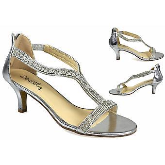 Diamante Kitten Heel Silver