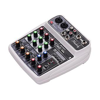Compact sound card mixing console digital audio mixer 4-channel bt mp3 usb input +48v phantom power