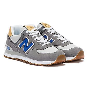 New Balance 574 Mens Grey / Blue / Tan Trainers
