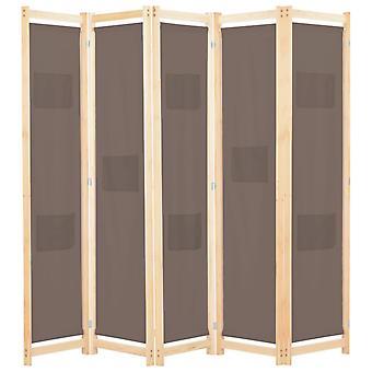 """vidaXL 5 חלקים חדר מחלק חום 200 x 170 x 4 ס""""מ בד"""