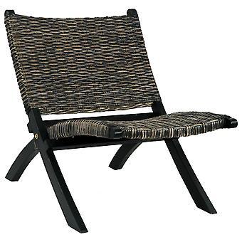 vidaXL chaise de relaxe noir nature kubu-rotin et bois massif en acajou