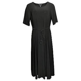 Nina Leonard Dress Petite Large Nicole Belt Midi w/Godet Detail Black 685869