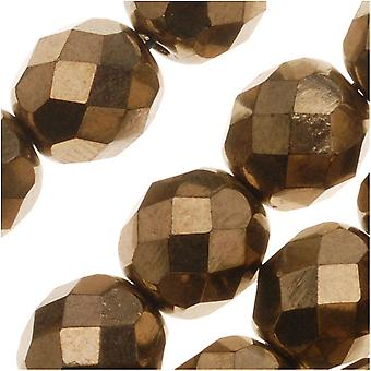Czech Fire Polished Glass Beads 8mm Round - Bronce Metálico (25)