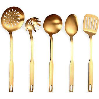 Wokex Edelstahl KüChen Utensilien 5 Teilige Koch Kellen Set, KüChen Werkzeug Set, Gold