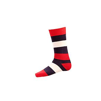 Casa de Cheviot Gents Bold Stripe Short Calcetines ~ Grosella Roja