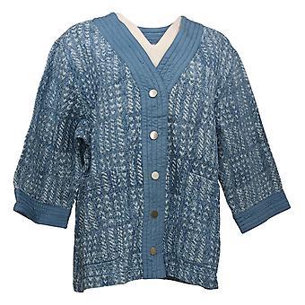 Isaac Mizrahi Live! Women's TRUE DENIM Quilted Jacket Blue A393582