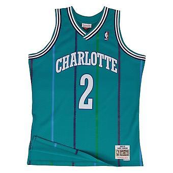 ミッチェル&ネススイングマンジャージーシャーロットホーネッツロードラリージョンソンSMJYGS18147CHOTEAL92LJOバスケットボールオールイヤーメンズTシャツ