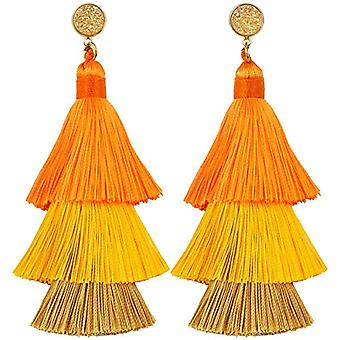 KYEYGWO - Women's earrings with tassel, bohemian style, with thread, with crystals and drop tree and Alloy, color: Ref earrings. 0715444084348