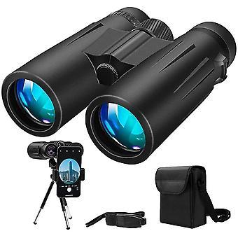 Binoculars, 12 x 42 Binoculars, Compact binoculars with tripod and smartphone adapter for hunting, birding, hiking, travel and sports(Black)