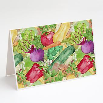 مزرعة الخضروات بالألوان المائية إلى بطاقات المعايدة الجدول وحزمة مغلفات من 8