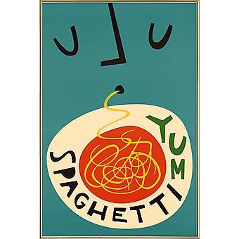 JUNIQE Print -  Yum Spaghetti - Essen & Trinken Poster in Rot & Schwarz