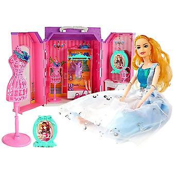 Armario de casa de muñecas plegable con muñeca y accesorios