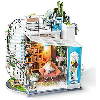 Wokex Miniatur Puppenhaus Kits Dora Loft Hand handwerk Holz Puppenhaus Modellbausätze Beste Geschenke für Teens