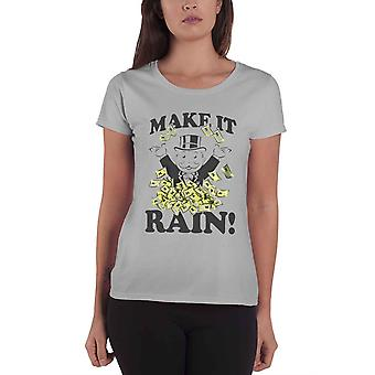 Monopoly T Shirt Make It Rain new Official Womens Skinny Fit Grey