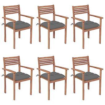vidaXL כיסאות גן לערום עם כריות 6 יח '. טיק עץ מלא