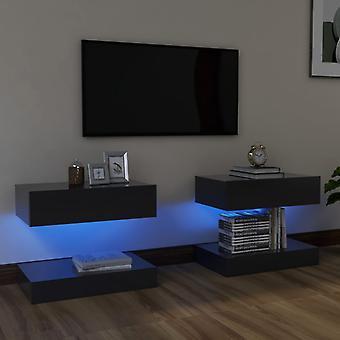 vidaXL TV-kaapit LED-valoilla 2 kpl. harmaa 60x35 cm