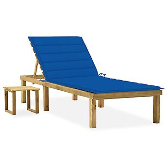 vidaXL garden sun lounger with table and pad pine impregnated