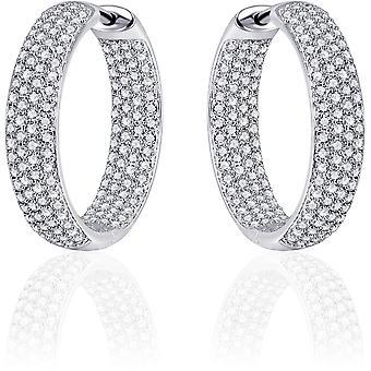 Gisser Jewels - Örhängen - Örhängen med gångjärn - Lätt rullad med Zirconia - 5mm Bred - 23mmØ - Roterat Silver 925